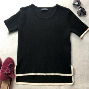 Zara Knit Short Sleeve Box Hem Sweater Top
